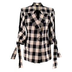 Petar Petrov Beige & Black Check Tie Cuff Jacket 36 XS