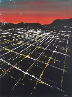 Fountain Street Sunset Aerial - Original Los Angeles Cityscape Artwork