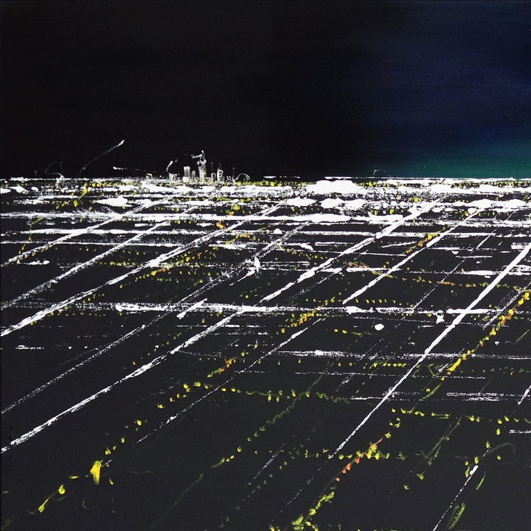 Griffith Sunset Aerial II - Contemporary Painting by Pete Kasprzak