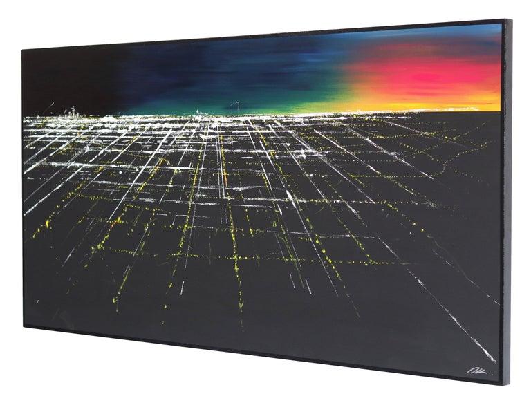 Griffith Sunset Aerial II - Black Landscape Painting by Pete Kasprzak