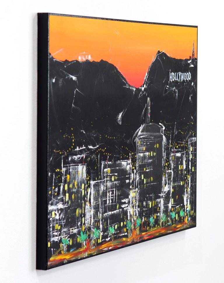Hollywood Street  - Black Landscape Painting by Pete Kasprzak