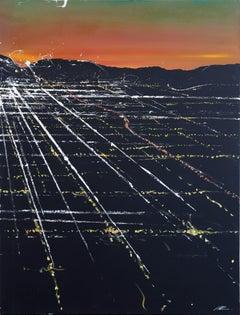 Lankershim Sunset Aerial - Original Los Angeles Cityscape Painting