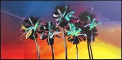 Venice California Multi Palms - Large Original Figurative Landscape Painting