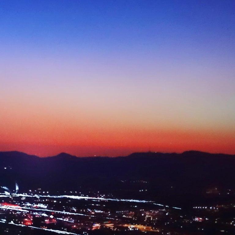 Burbank Hills Sunset - Purple Landscape Photograph by Pete Kasprzak