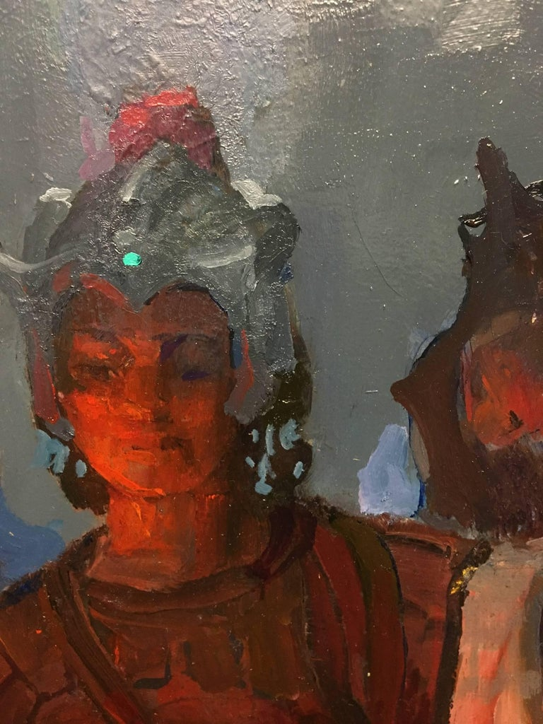 """Description The artist painted a wooden sculpture that depicts the Archangel Michael after he has vanquished the dragon, Satan. Flintridge Sacred Heart Academy in La Canada Flintridge.  Watch the video on """"Peter Adams: Inspirations for the Fourteen"""