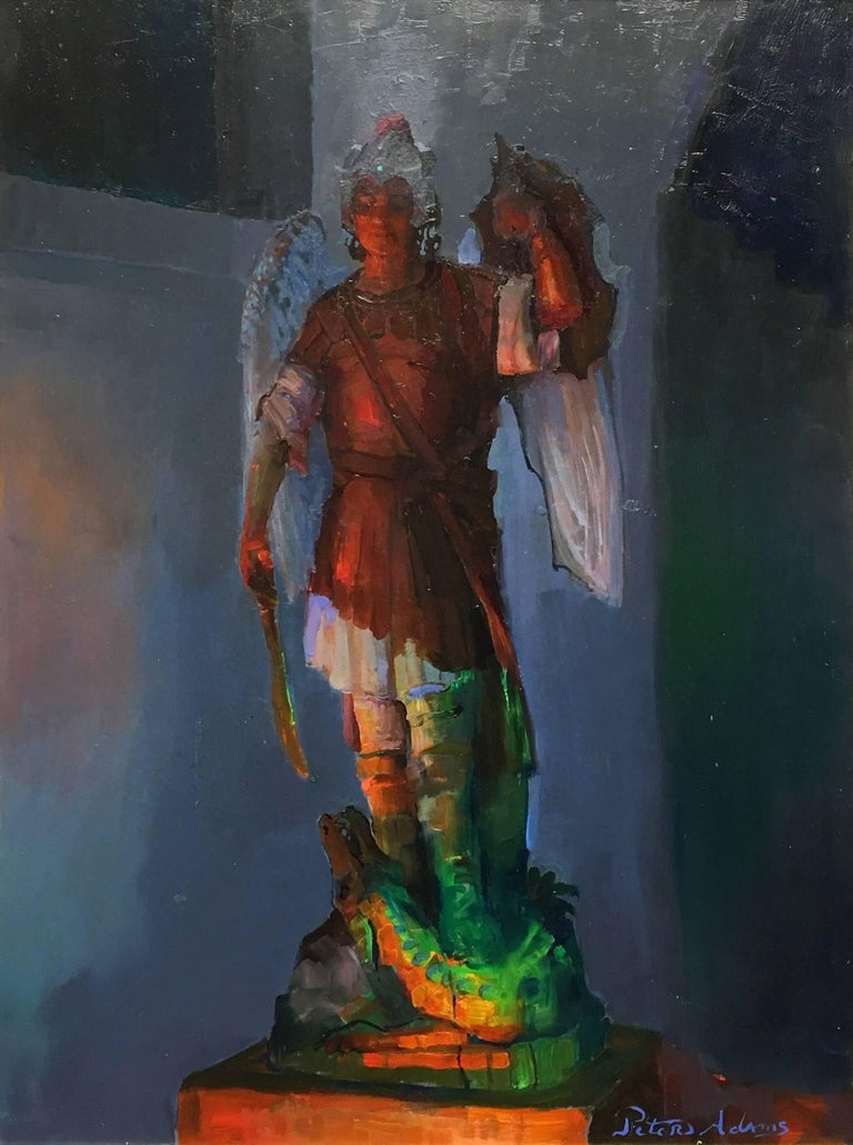 Archangel Michael and the Serpent; Sacred Heart Academy - Painting by Peter Adams