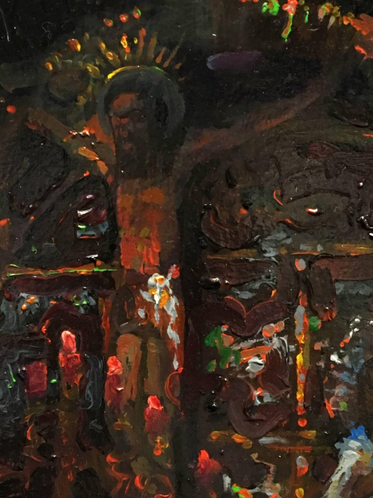 Description Spending the night in the dark interior of Jerusalem's ancient Church of the Holy Sepulcher, Peter Adams produced five paintings with a light attached to his head.  Inside the Church are more than thirty chapels and worship spaces, such