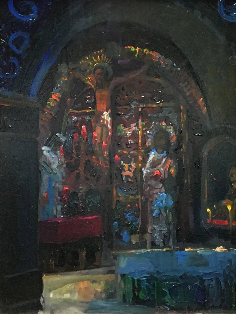 Golgotha (Station 12) inside the Church of the Holy Sepulcher - Painting by Peter Adams