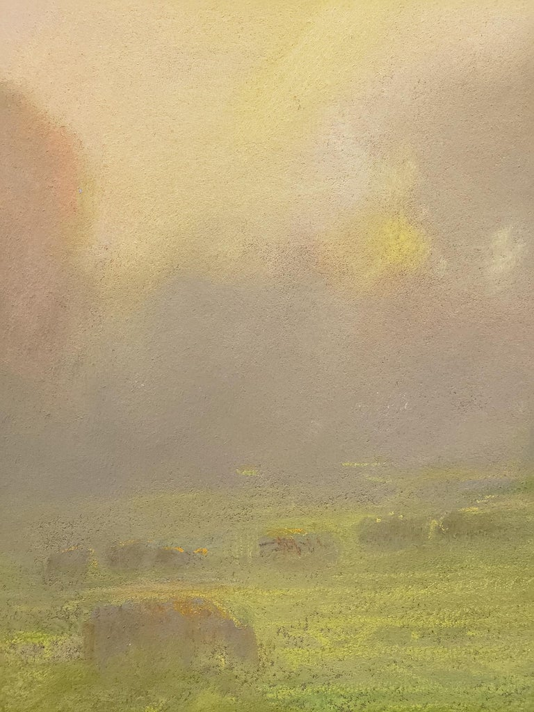 Provenance Acquired directly from the Artist by the gallery  Description While a guest on a private ranch in Redding, California artist Peter Adams took out his pastels on an early spring morning to capture this tranquil scene of grazing cattle, en