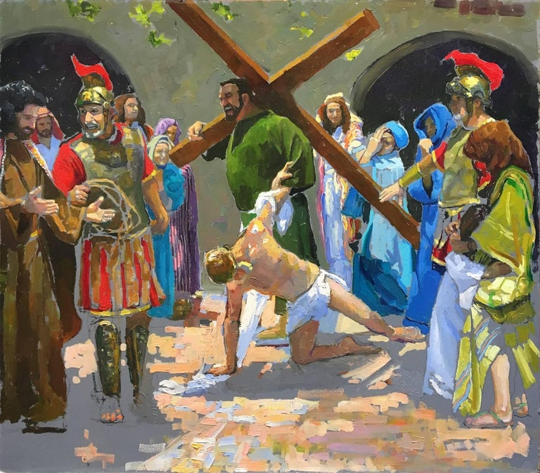 Study for the 7th Station; Jesus Falls the Second Time - Painting by Peter Adams