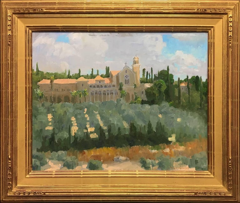 Peter Adams Landscape Painting - Trappist Monastery in Latrun; Overlooking the Road to Jerusalem