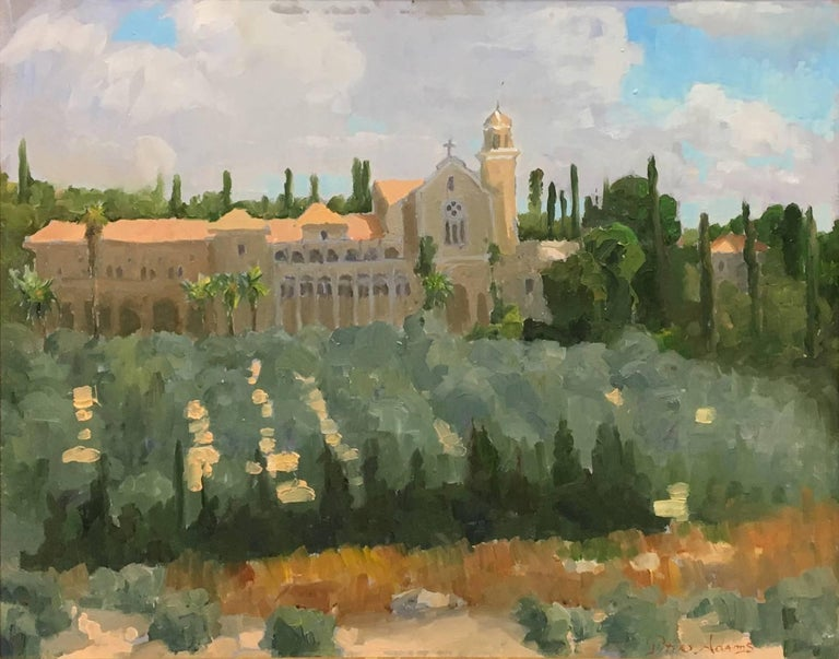 Trappist Monastery in Latrun; Overlooking the Road to Jerusalem - Painting by Peter Adams