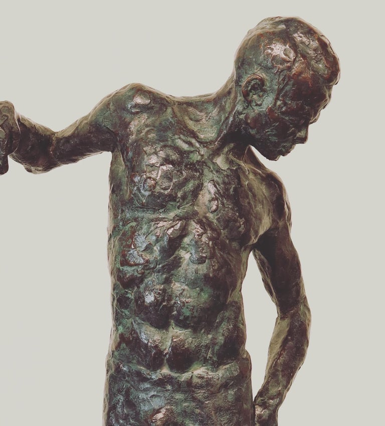 Ray- 21st Century Sculpture of a male dancer  - Gold Figurative Sculpture by Peter Adams