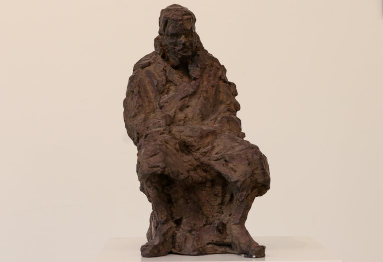 Retirement - 21st Century Contemporary Bronze Sculpture of a sitting old Man  - Gold Figurative Sculpture by Peter Adams