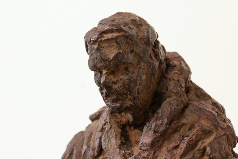 Retirement - 21st Century Contemporary Bronze Sculpture of a sitting old Man  For Sale 1