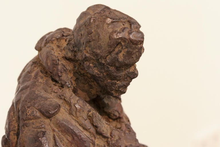 Retirement - 21st Century Contemporary Bronze Sculpture of a sitting old Man  For Sale 3