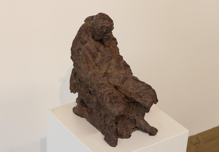 Retirement - 21st Century Contemporary Bronze Sculpture of a sitting old Man  For Sale 4