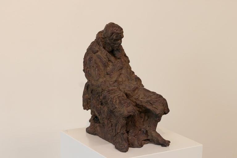 Peter Adams Figurative Sculpture - Retirement - 21st Century Contemporary Bronze Sculpture of a sitting old Man