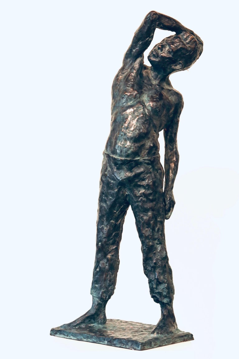 Peter Adams Nude Sculpture - Roy- 21st Century Sculpture of a bare chested male figure standing