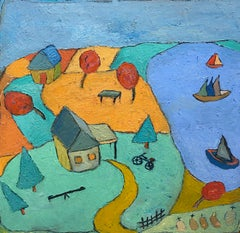 Post Modern Modernist American Painter Green Blue Holiday Oil Painting Arvidson