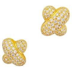 "Peter Atman 18 Karat Yellow Gold, 7.95 Carat Diamond ""X"" Earrings, Clip-On"