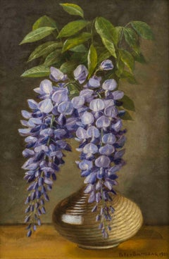 19th-cent. Still-life: Wisteria in a Vase by Peter Baumgras (1827-1904,American)