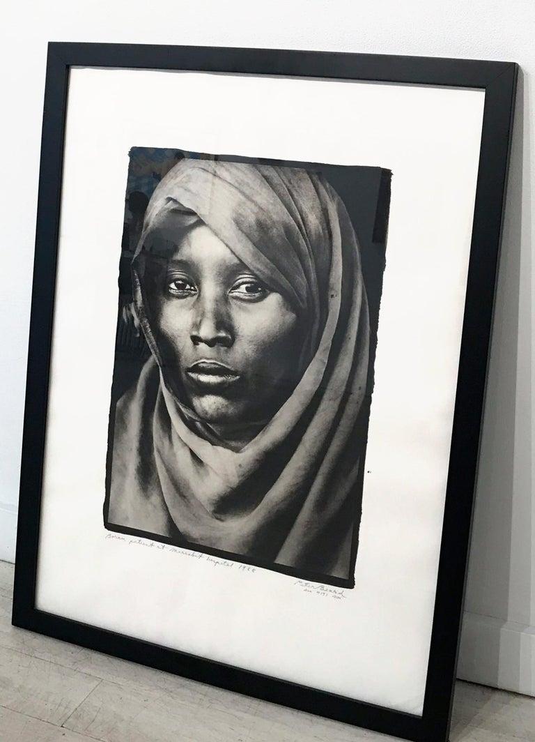 Boran Woman at Marsabit Hospital, Platinum Print, Black & White, Signed, Framed - Photograph by Peter Beard