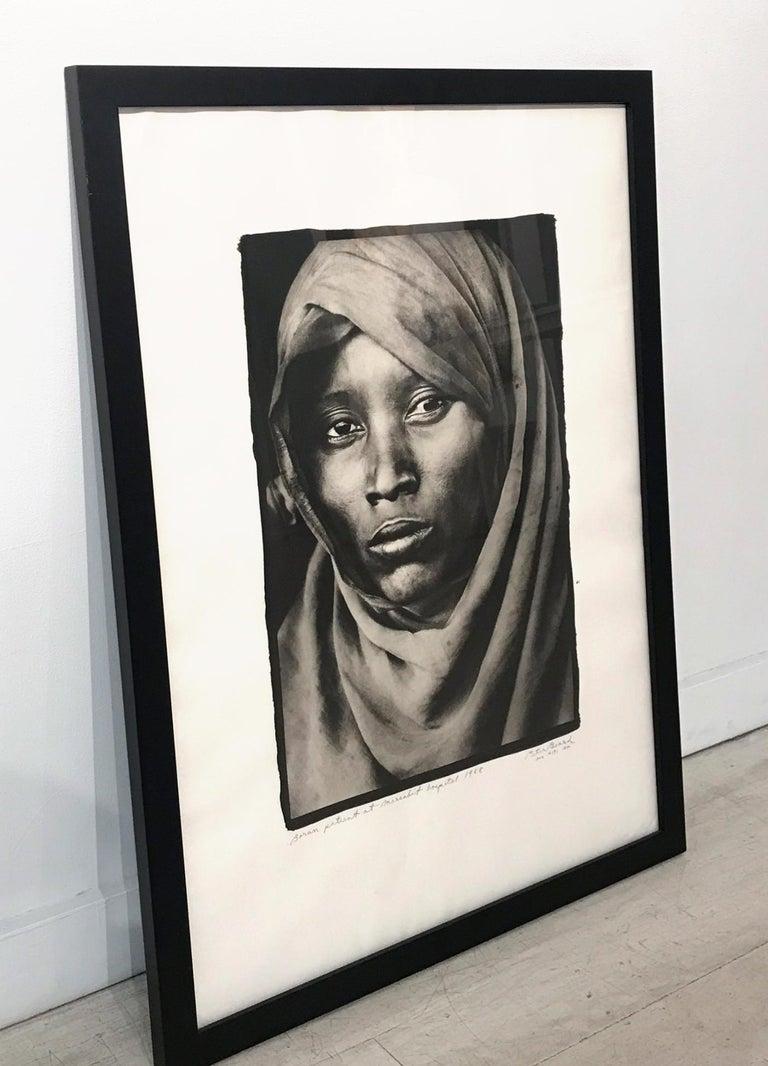 Boran Woman at Marsabit Hospital, Platinum Print, Black & White, Signed, Framed - Contemporary Photograph by Peter Beard