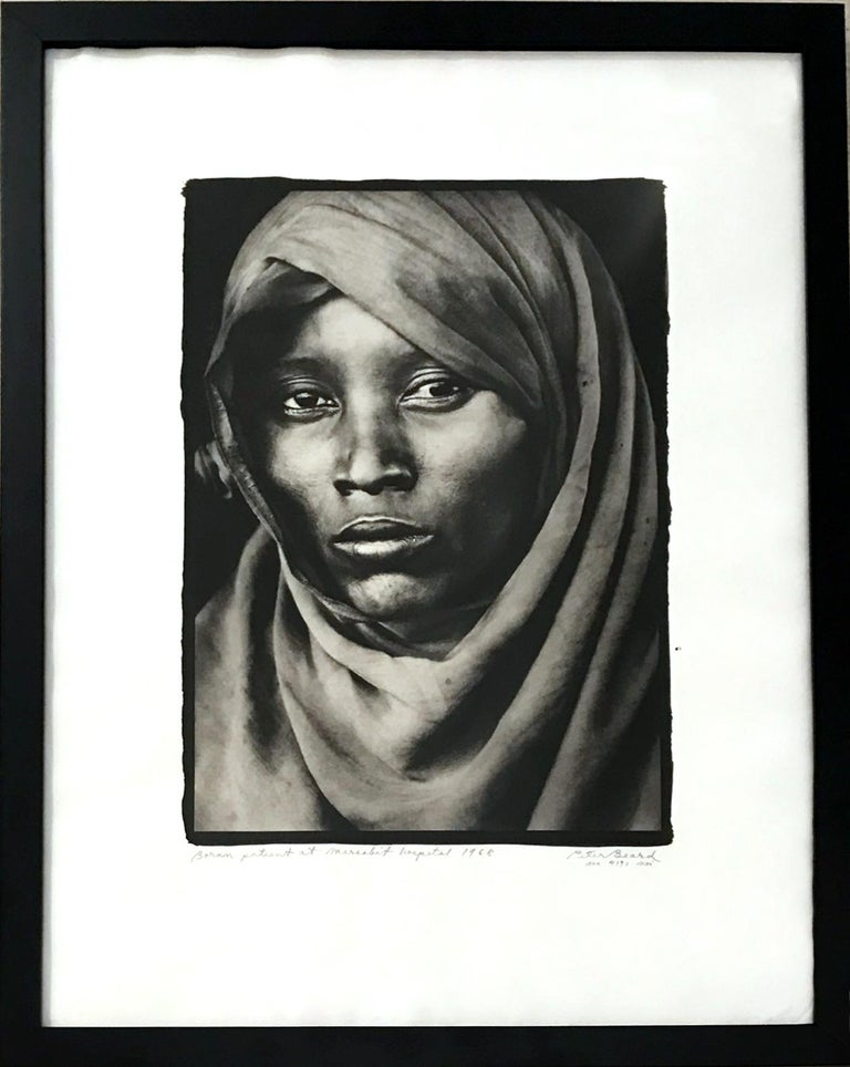 Peter Beard Portrait Photograph - Boran Woman at Marsabit Hospital, Platinum Print, Black & White, Signed, Framed