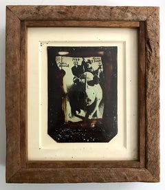 Roping Rhino, Polaroid Photograph, Black and White, Inscribed, Signed, Framed