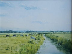 Peter Bearman, Norfolk landscape, Cows grazing in marshland