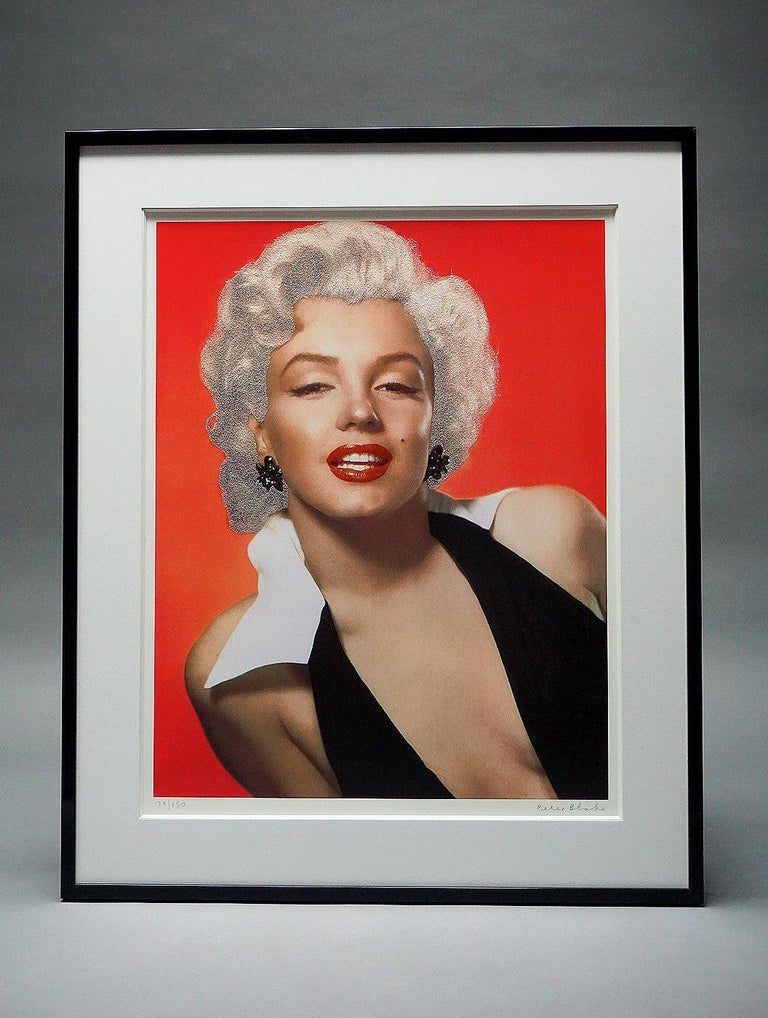 """Artwork Details:   """"Marilyn"""" (2010), Diamond dust, Silkscreen, Signed and numbered by the artist.  The custom framed dimensions measure: 45 x 37 in. / 114.3 x 93.98 cm.    About the Artwork:  The silkscreen print, """"Marilyn"""" by Peter Blake, features"""
