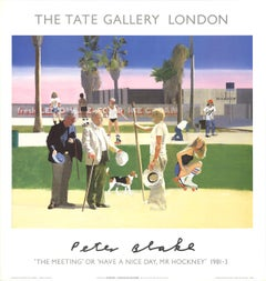 """Peter Blake-""""The Meeting"""" or """"Have a Nice Day Mr. Hockney""""-26.5"""" x 25.25""""-Poster"""
