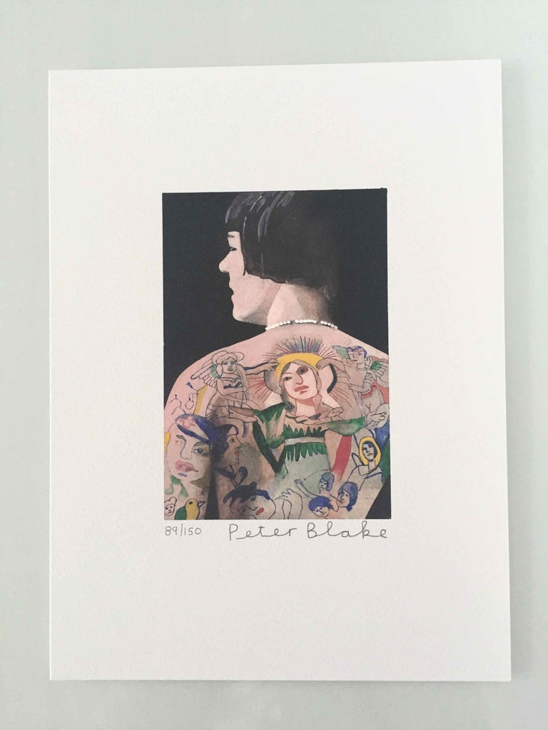 Tattooed People, Betty, 2015, Archival limited edition inkjet print on photo rag satin paper, Edition 89/150, 11 × 8 3/10 in, 28 × 21 cm, signed and numbered by Sir Peter Blake (unframed)  Widely regarded as the godfather of British Pop art and the