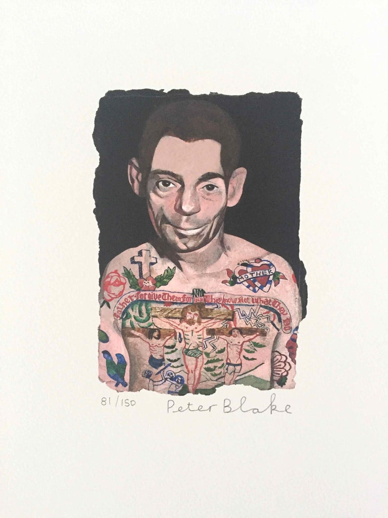 Tattooed People, Dan: Limited Edition Print by Sir Peter Blake - White Figurative Print by Peter Blake
