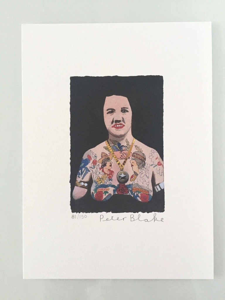 Tattooed People, Doris, 2015, Archival limited edition inkjet print on photo rag satin paper, Edition 81/150, 11 × 8 3/10 in, 28 × 21 cm, signed and numbered by Sir Peter Blake (unframed)  Widely regarded as the godfather of British Pop art and the