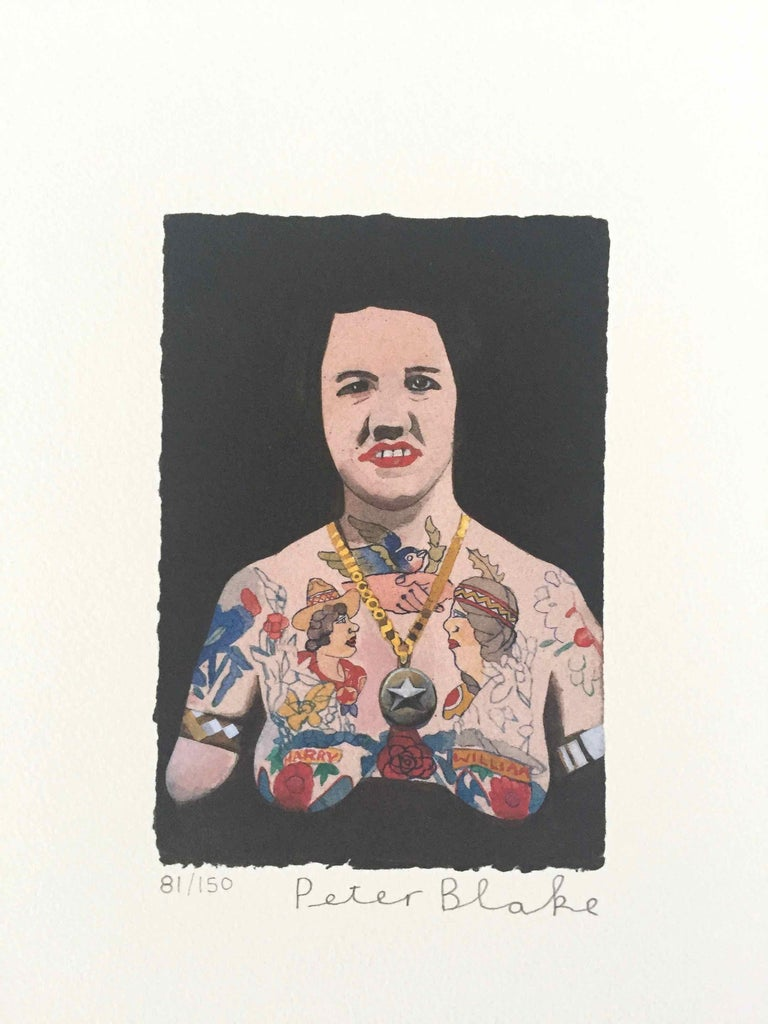 Tattooed People, Doris: Limited Edition Print by Sir Peter Blake - White Figurative Print by Peter Blake