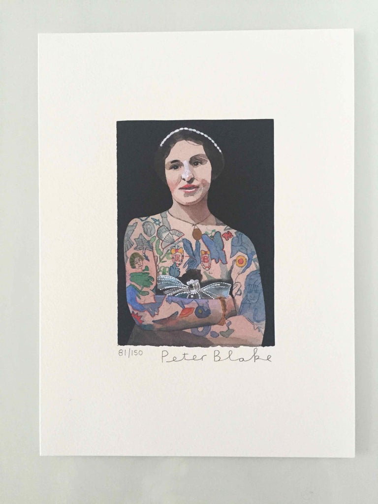 Tattooed People, Emily, 2015, Archival limited edition inkjet print on photo rag satin paper, Edition 81/150, 11 × 8 3/10 in, 28 × 21 cm, signed and numbered by Sir Peter Blake (unframed)  Widely regarded as the godfather of British Pop art and the
