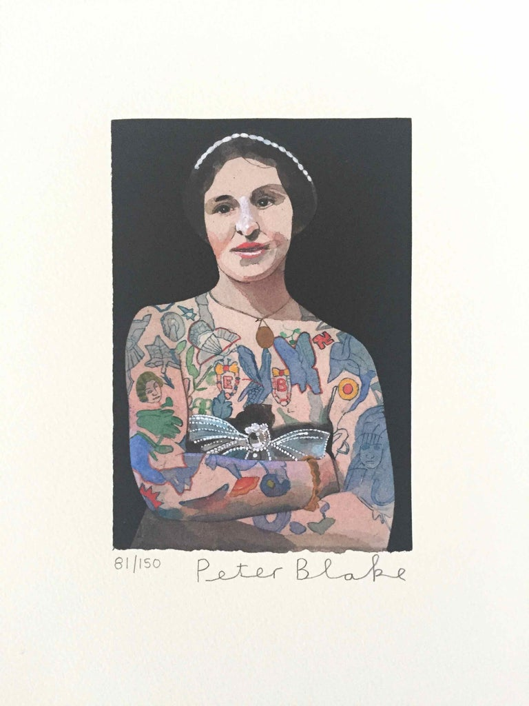 Tattooed People, Emily: Limited Edition Print by Sir Peter Blake - White Figurative Print by Peter Blake