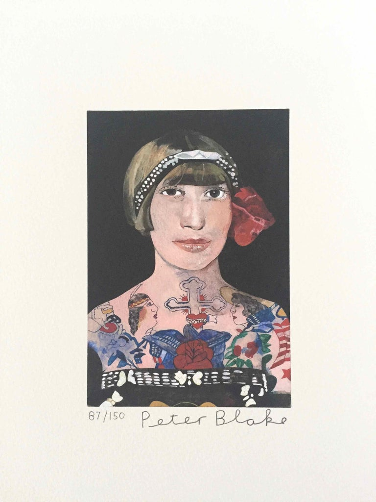 Tattooed People, Gloria: Limited Edition Print by Sir Peter Blake - White Figurative Print by Peter Blake
