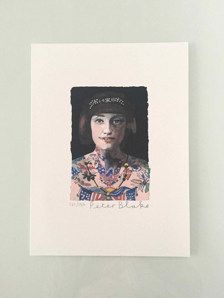 Tattooed People, Grace, 2015, Archival limited edition inkjet print on photo rag satin paper, Edition 121/150, 11 × 8 3/10 in, 28 × 21 cm, signed and numbered by Sir Peter Blake (unframed)  Widely regarded as the godfather of British Pop art and the