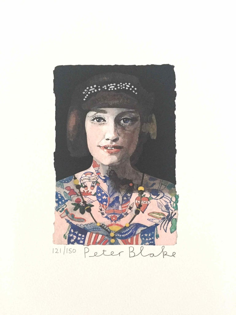Tattooed People, Grace: Limited Edition Print by Sir Peter Blake - White Figurative Print by Peter Blake