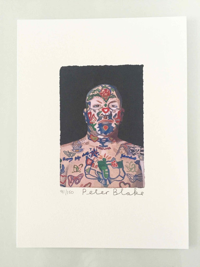 Tattooed People, Ron, 2015, Archival limited edition inkjet print on photo rag satin paper, Edition 91/150, 11 × 8 3/10 in, 28 × 21 cm, signed and numbered by Sir Peter Blake (unframed)  Widely regarded as the godfather of British Pop art and the
