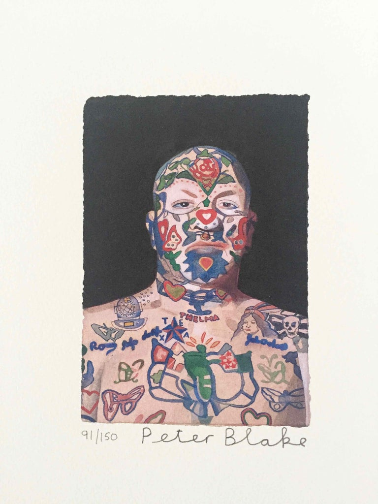 Tattooed People, Ron: Limited Edition Print by Sir Peter Blake - White Figurative Print by Peter Blake