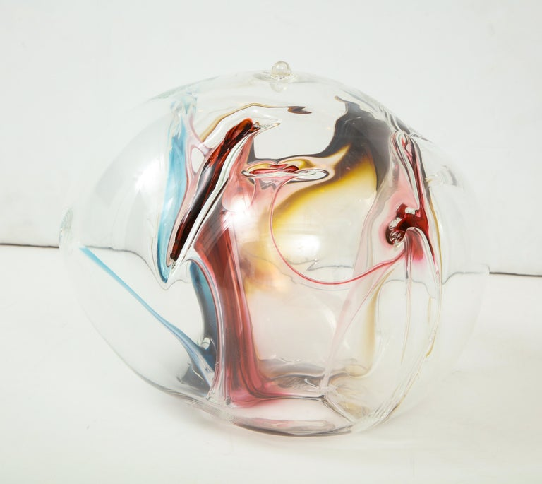 American Peter Bramhall Glass Orb Sculpture For Sale