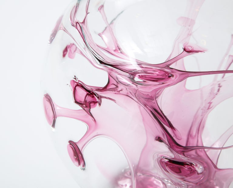 Blown Glass Peter Bramhall Magenta, Clear Glass Sculpture For Sale
