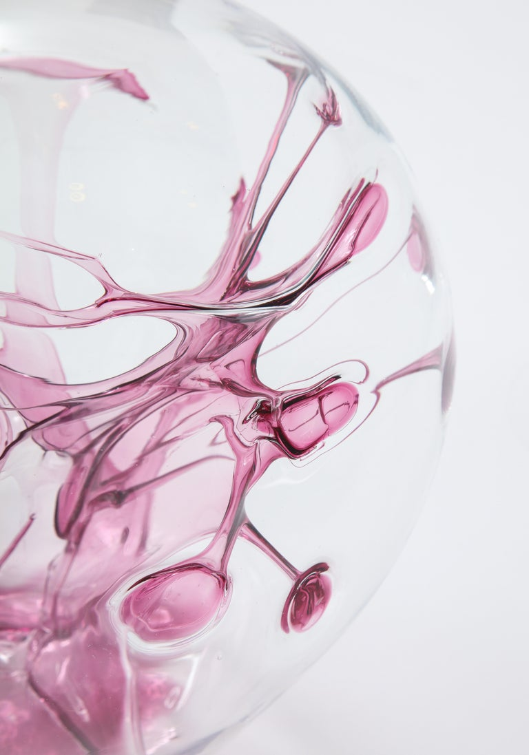 Peter Bramhall Magenta, Clear Glass Sculpture For Sale 1