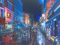 An Evening on Frith Street original city landscape painting