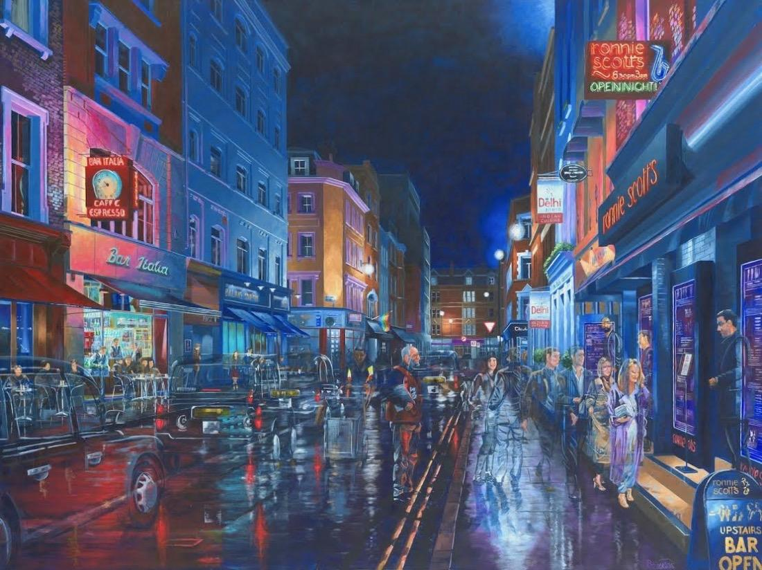 Arriving at Ronnie Scotts Fifth St -London city illustration landscape painting