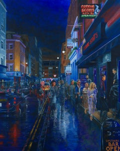 Arriving at Ronnie's on Frith Street original city landscape painting